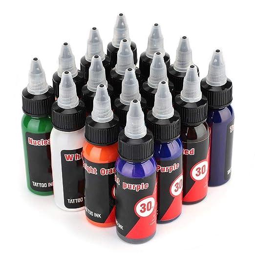 Nannday Kits de Tinta para Tatuaje, 16 Colores Juegos de pigmentos ...