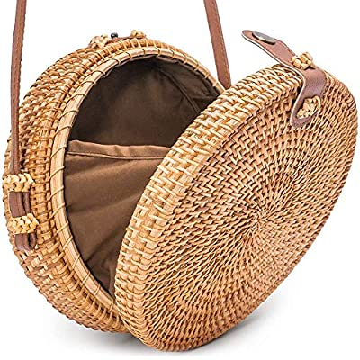 Round Rattan Bag with Snap Clasp by Avoseta