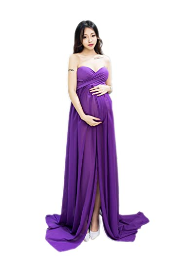 0391c4d4e5a036 EPLAZA Womens Maternity Maxi Dress Sleeveless Split Front Photography Gown ( Purple)