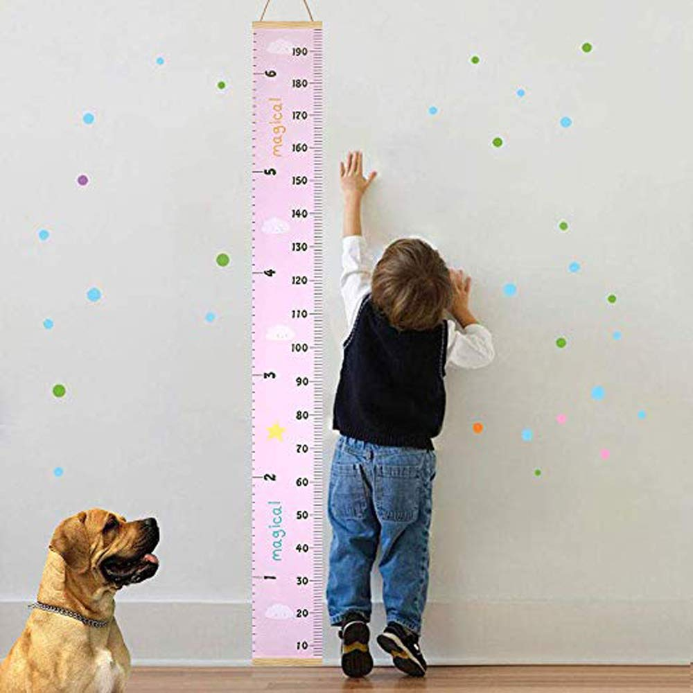 Pink Growth Chart Wall Hanging Portable Kids Wall Ruler Removable Height Measure Chart for Boys Girls Growth Ruler from Baby to Adult for Childs Room Decoration 797.9