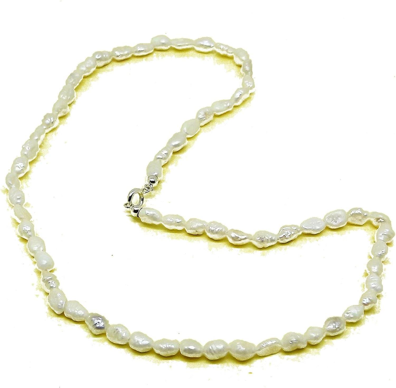 El Coral Collar Perlas Blancas Barrocas 3x7mm