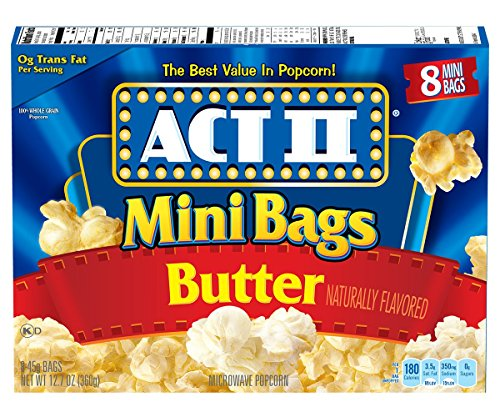 Mini Microwave Popcorn (Act II Popcorn Butter, 8-Count 1.6 oz., Mini-Bags (Pack of 6))