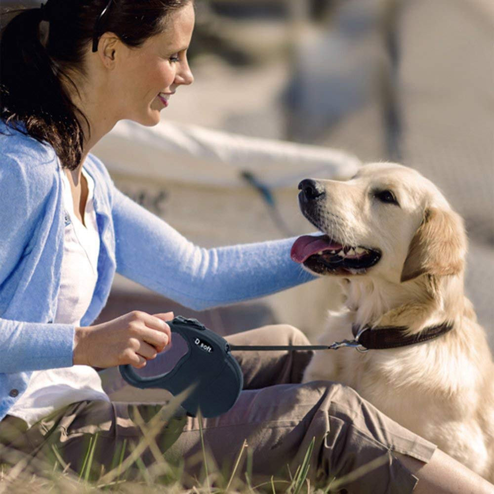 D soft Retractable Dog Leash, Comfortable Handle, 16 ft up to 110 pounds (Black)