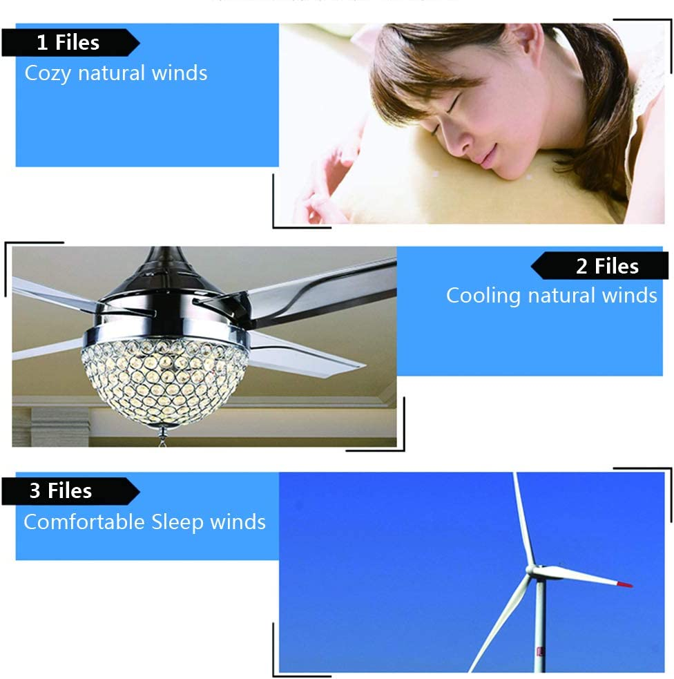 Healer Ceiling Fans with LED Lights and Remote Control Modern Crystal Chandelier Fan Lamp 4 Blades Stainless Steel for Living Room Bedroom Dining Room