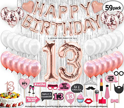 13th Birthday Decorations, 13 Birthday Party Supplies|13 Cake Topper Rose Gold| Happy Birthday Banner| Confetti Balloons for her| Silver Curtain Backdrop Props or Photos 13th Thirteen Teenager Bday ()