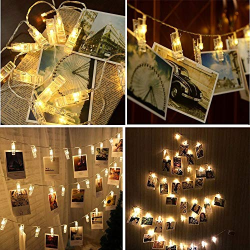 HiSayee Waterproof LED Photo String Lights 20 Photo Clips Battery Powered Fairy Twinkle Lights, Wedding Party Christmas…
