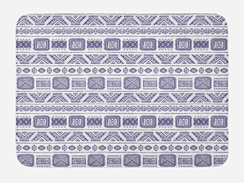 Ambesonne Tribal Bath Mat, Mexican Aztec Pattern with Geometric Forms Vintage Ethnic Boho Artwork Design Print, Plush Bathroom Decor Mat with Non Slip Backing, 29.5 W X 17.5 W Inches, Mauve White by Ambesonne