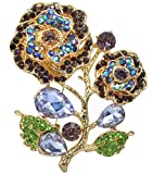Gyn&Joy Women's Austrian Crystal Blooming Beautiful Purple Rose Flower Pendant Brooch Pins