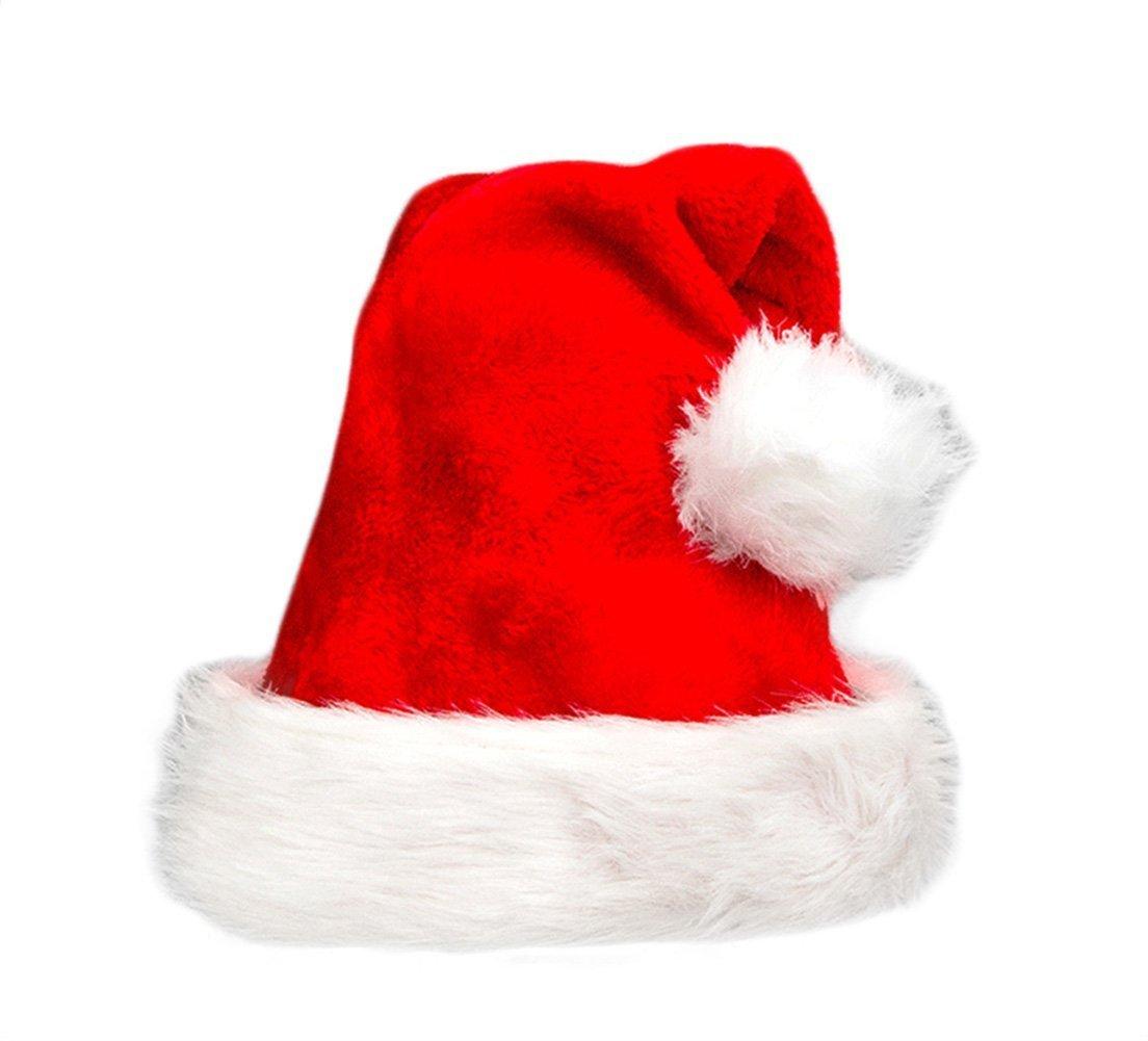 JBENG 2 Pack Plush Christmas Hat Santa Hats Costume for Christmas Party