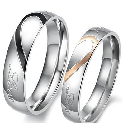 Lekima 2pc Edelstahl Ring Halfte Herz Real Love Versprechen Lover