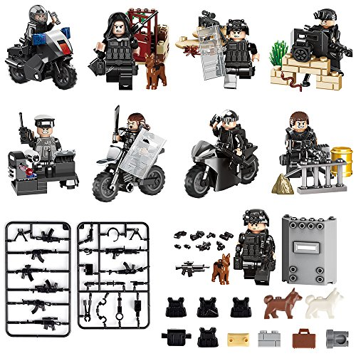 Minifigures 9pcs SWAT Team with Military Weapons Accessories Policeman Soldier Minifigures Toys Building Blocks Interchangeable Hats Minifigures Playset Building Block Toys 100% Compatible
