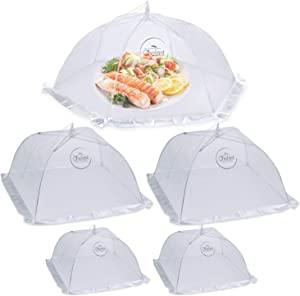 Chefast Food Cover Tent (5 Packs) - Pop Up Mesh Covers in 3 Sizes with Reusable Carry Bag - Protect Foods from Fruit Flies - Great for Picnics, and Outdoor BBQ