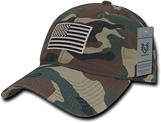 US American Tonal Flag Patch Embroidery Polo Cap Baseball Hats  Hat
