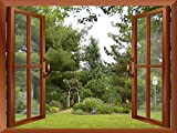 Wall26 - Beautiful Garden/Backyard View from inside a Window | Wall26 Removable Wall Sticker / Wall Mural - 24