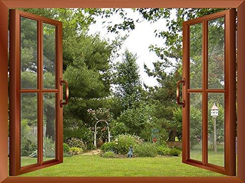Beautiful Garden Backyard View from inside a Window Removable Wall Sticker Wall Mural