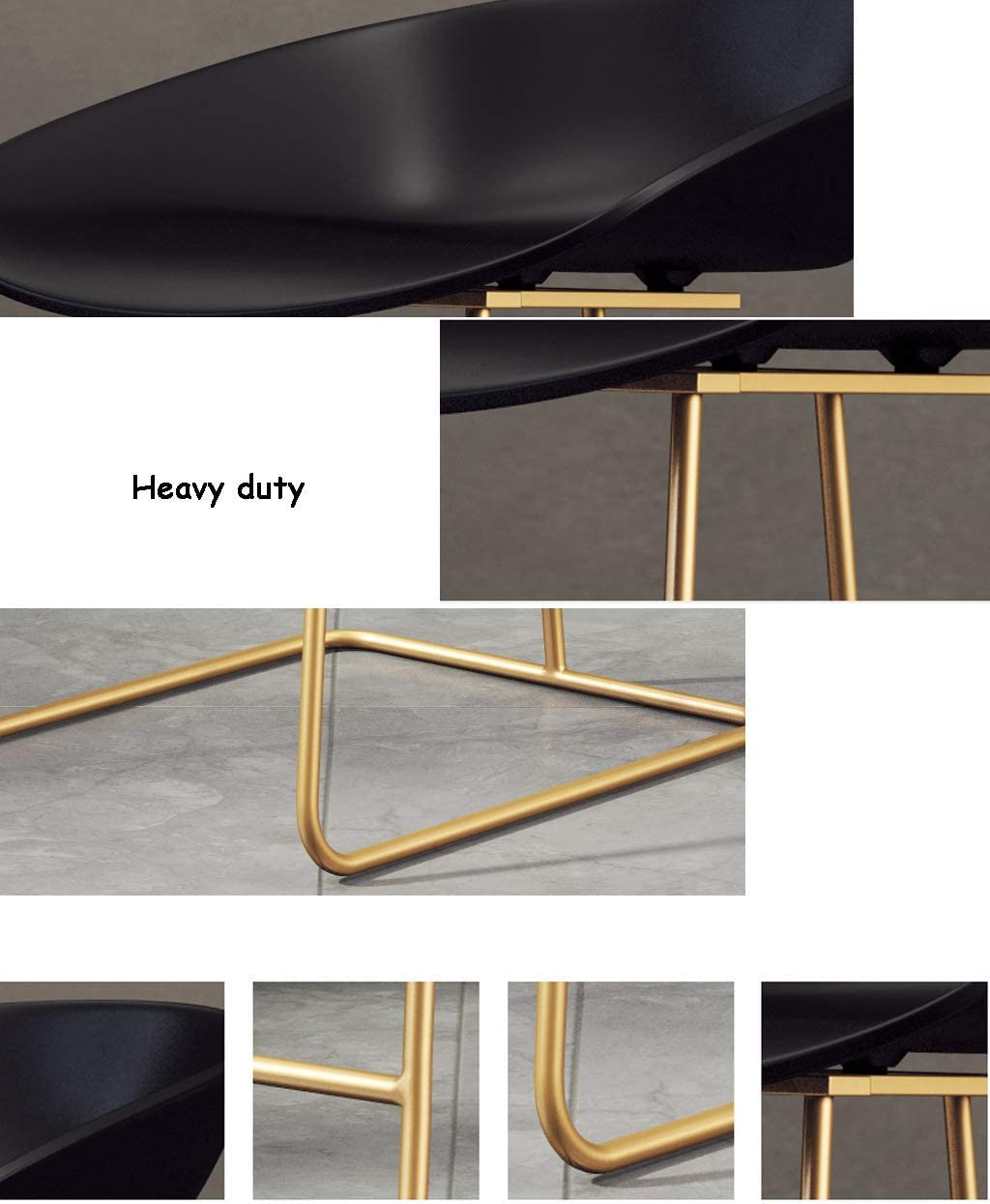 QSHG Chairs Modern Stylish Design Pyramid Style Shape World Colourful Stable Frame Rubber Ring Metal Legs Form Gift (Color : Black) Black