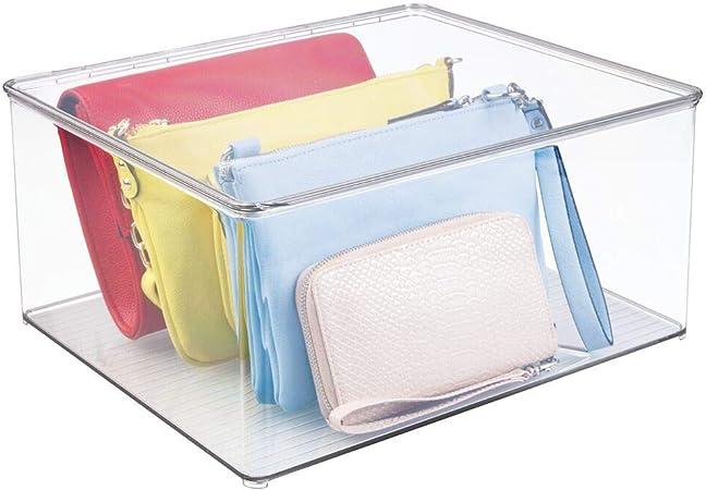 mDesign Cajas para guardar ropa apilables y con tapa – Prácticas cajas de almacenaje para armarios – Cajas de plástico para ropa: Amazon.es: Hogar