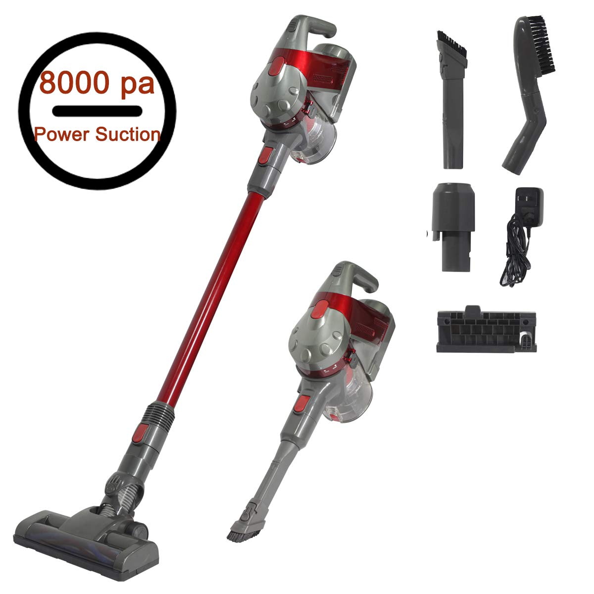 SU-VAC Cordless Vacuum Cleaner, 8000 pa Powerful Suction 2 in 1 Versatile Cyclone Stick & Handheld Lightweight Vacuum Cleaner with Detachable Rechargeable Lithium-Ion Battery and Wall Mount(Red)