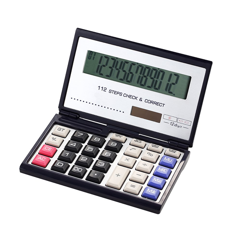 Business /Financial/ student / Folding Calculator with 12-digits Large Display,Solar and AAA Battery Dual Power
