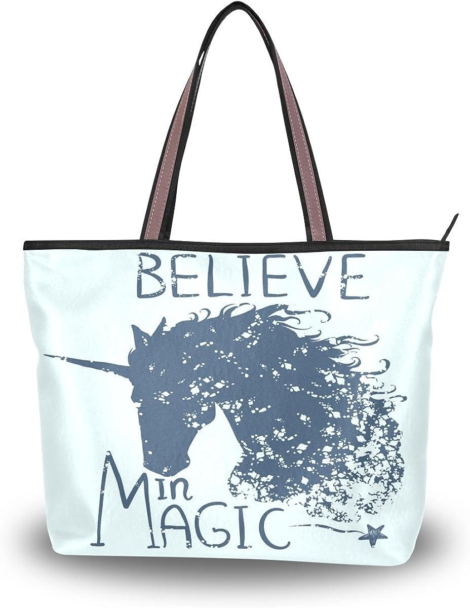 Tote Bag Black White Unicorn Horse Shoulder Handbag Travel Beach Bag With Zipper