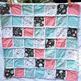 Woodland baby rag quilt peach mint brown white with tiny forest creatures cavorting about