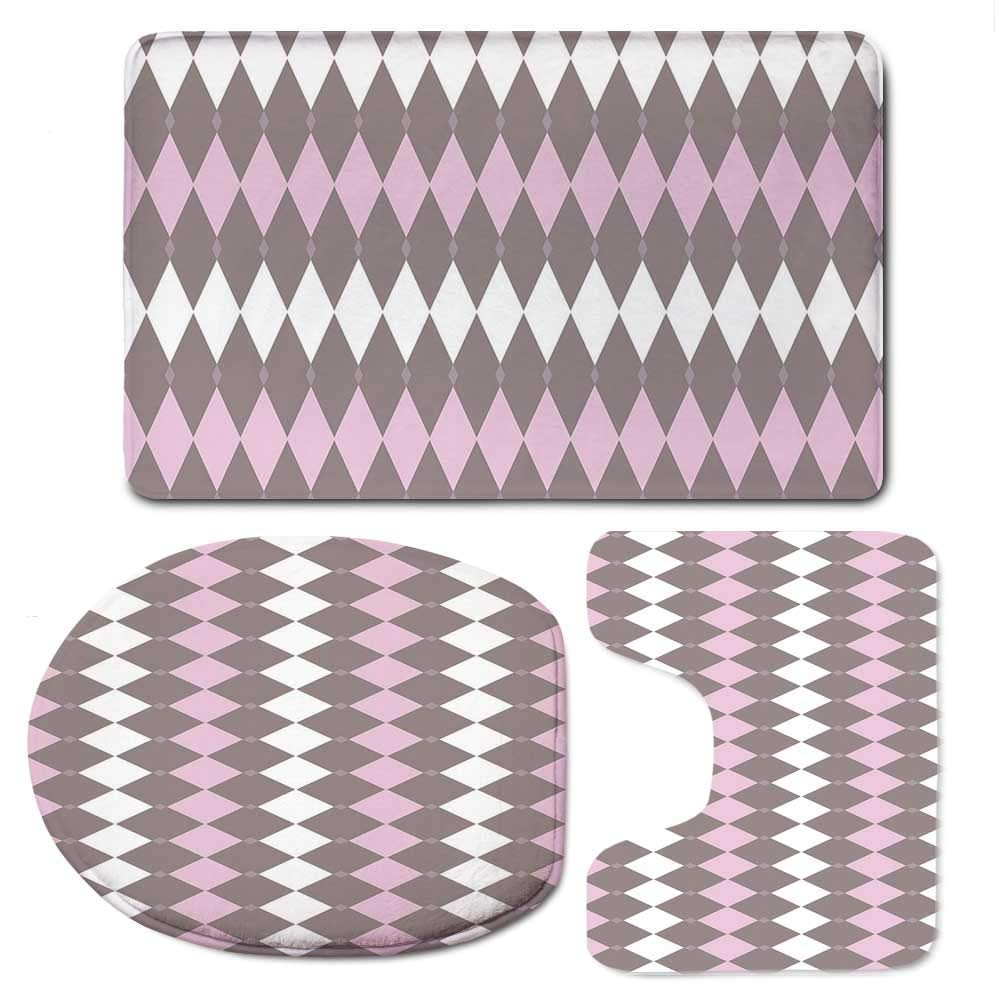 YOLIYANA Geometric Soft Bathroom 3 Piece Mat Set,Diamond Pattern Various Sized Shapes Vertical and Retro Illustration Decorative for Home,F:20'' W x31 H,O:14'' Wx18 H,U:20'' Wx16 H