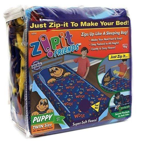 Zipit Friends Twin Bedding Set, Blue Puppy by Zip It Friends