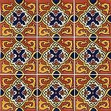 """Color y Tradicion 9 Mexican Tiles 4"""" x 4"""" Hand Painted Talavera C310"""