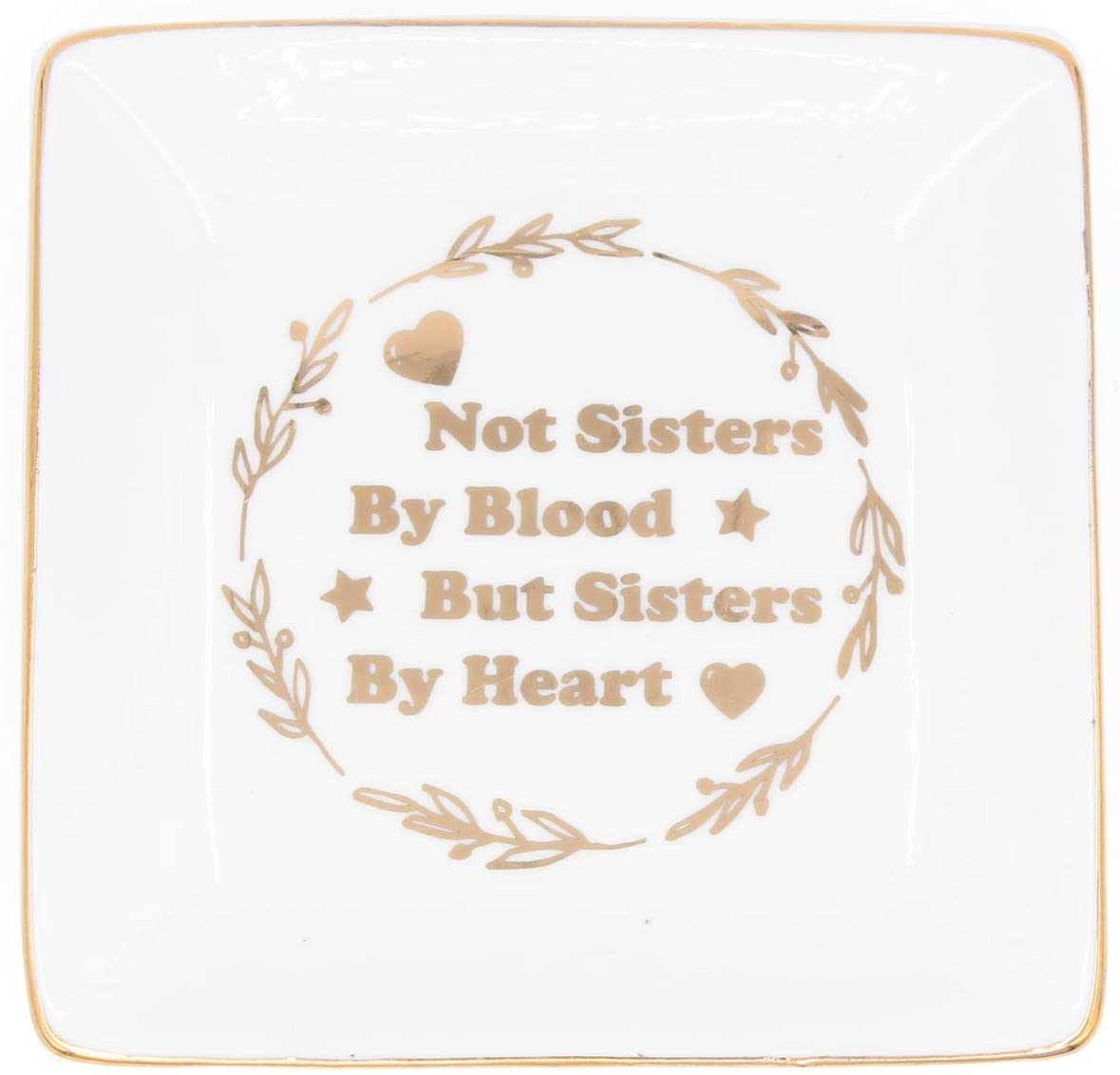 onederful Sister Gifts Trinket Dish for Kids Sister Girls Friends – Not Sisters by Blood But Sisters by Heart Gold