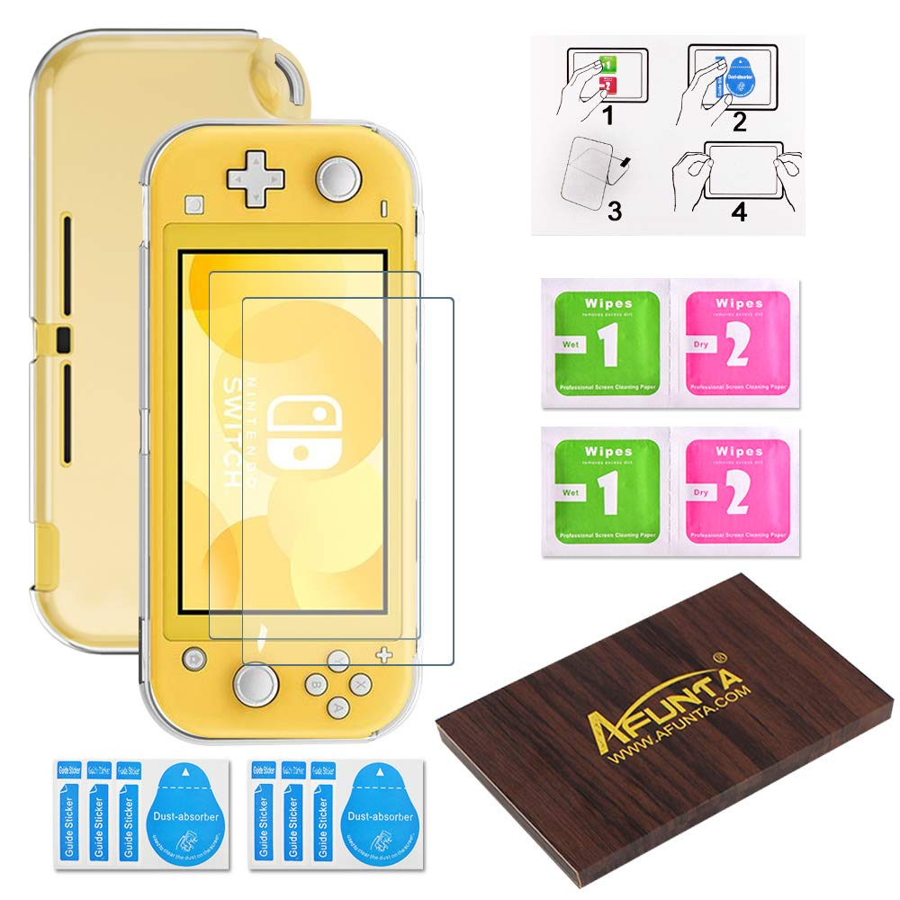 Transparent TPU Case for Switch Lite, AFUNTA 1 Pcs Ultra-thin TPU Cover & 2 Pcs Screen Protectors for Switch Lite 2019