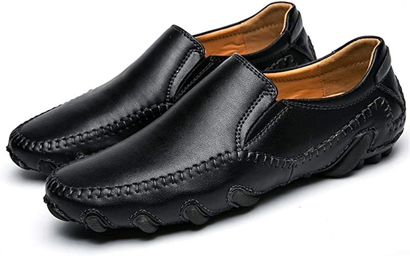 Lvjuzhuangshiame Mens Driving Loafer Boat Moccasins Slip-on Style Shoes Breathable Leather Delicate Hollow Round Toe
