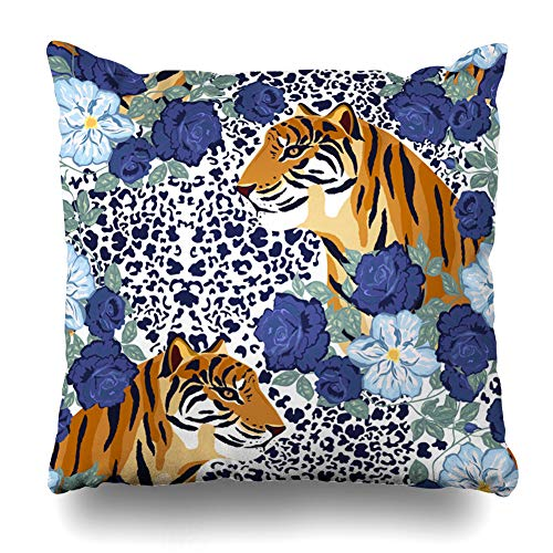 (Kutita Decorativepillows Covers 18 x 18 inch Throw Pillow Covers, Abstract Animal Print with Tiger and Flower Pattern Double-Sided Decorative Home Decor Pillowcase)