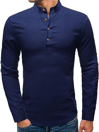 Cyiozlir Camisa de hombre de cuello alto, Slim Fit, manga larga, lino, camisa para hombre, lino, camisa de ocio, con botones: Amazon.es: Ropa y accesorios