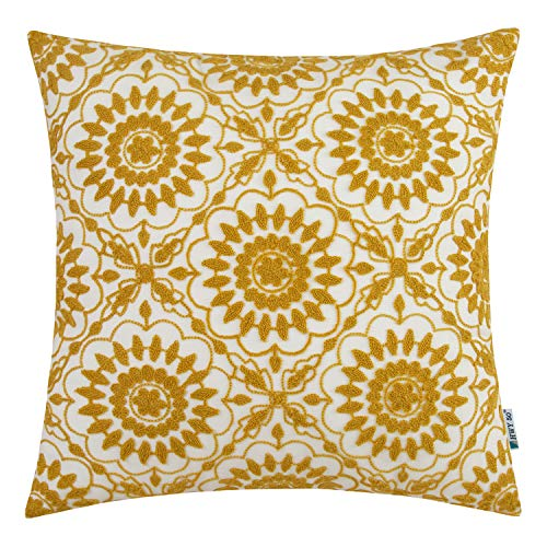HWY 50 Yellow Embroidered Decorative Throw Pillow Covers Cushion Cases for Couch Sofa Bed Little Sunflower Farmhouse Geometric Floral 18 x 18 inch, 1 Piece