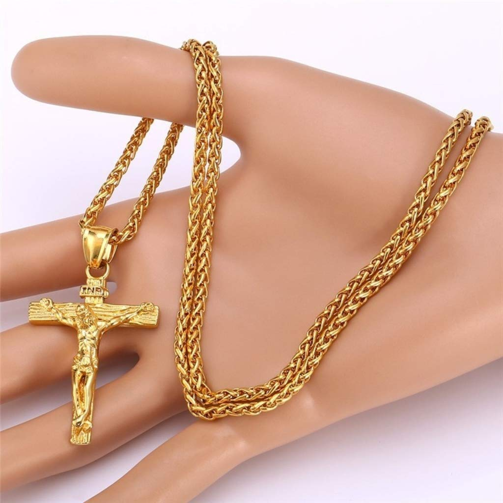 Naomi Mens Fashion Jesus Cross Pendant Gold 60cm Stainless Steel Alloy Pendant Necklace Chain Stainless Steel 60cm//24\