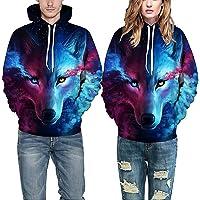 Wolf 3D Hoodie Sweatshirt Winter Outwear Pullover Hooded Sweatshirt for Men Women