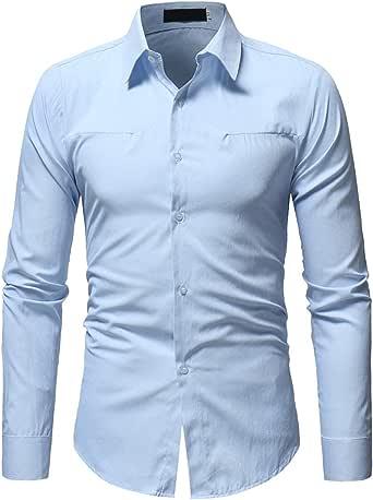 Hombre Camisas Solid Manga Larga Slim Fit Moda Hombre Casual Camisas Mangas Largas Azul Claro XXL: Amazon.es: Ropa y accesorios