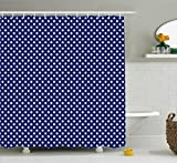 Polka Dot Shower Curtain Ambesonne Retro Shower Curtain, Pattern with White Polka Dots on a Sailor Navy Dark Blue Background Vintage Tile, Fabric Bathroom Decor Set with Hooks, 70 Inches, White Navy Blue