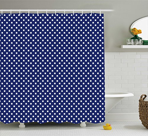 Ambesonne Retro Shower Curtain, Pattern with White Polka Dots on a Sailor Navy Dark Blue Background Vintage Tile, Fabric Bathroom Decor Set with Hooks, 70 Inches, White Navy Blue ()
