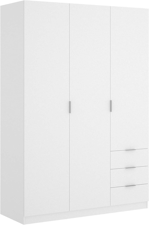 Mobelcenter - Armario 3 Puertas y 3 cajones - Armario 181 (Alto) x 122 (Ancho) x 52 (Fondo) cm - Armario Blanco - (1019)