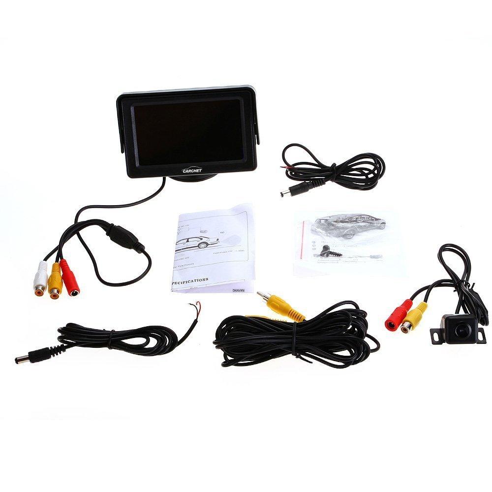 R SODIAL Videocamera Retromarcia Visione Notturna per Auto 4,3 Monitor LCD TFT