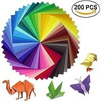Sunerly Lot de 200 feuilles de papier origami 2 tailles, 50 couleurs vives recto pour travaux manuels, lot de 100 yeux mobiles