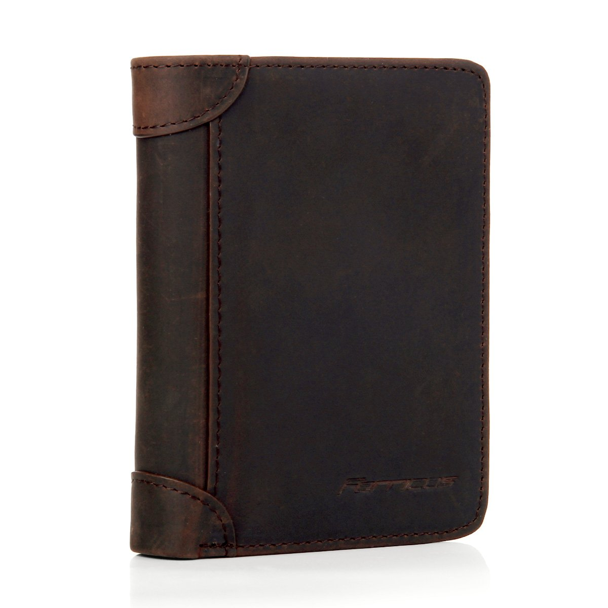Ferricos RFID Men Cowhide Leather Portrait Short Purse Extra Capacity Trifold Inner Pocket Wallet Card Case Cash Coin Bag Money Clip ID Photo Holder Men's Gift Crazy Horse Dark Coffee