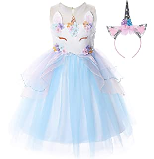 bf6a1917d746 Freshmarque Toddler Girls Unicorn Flower Dress, Wedding Party Princess  Pearl Tutu Tulle Skirt Cosplay Dress