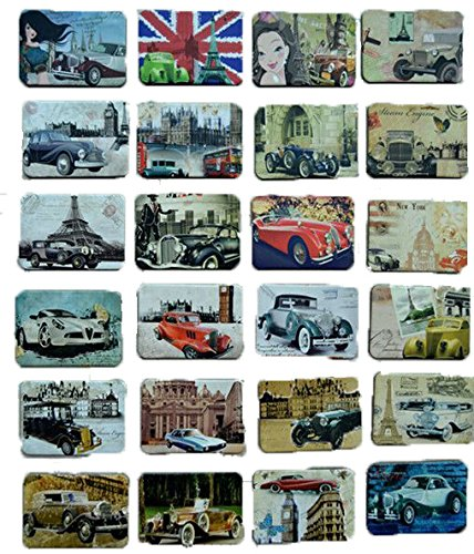 MISWEE 24-pcs magnetic fridge magnets refrigerator sticker home decoration accessories magnet paste arts crafts (classic cars) (To San Idaho Falls Diego)