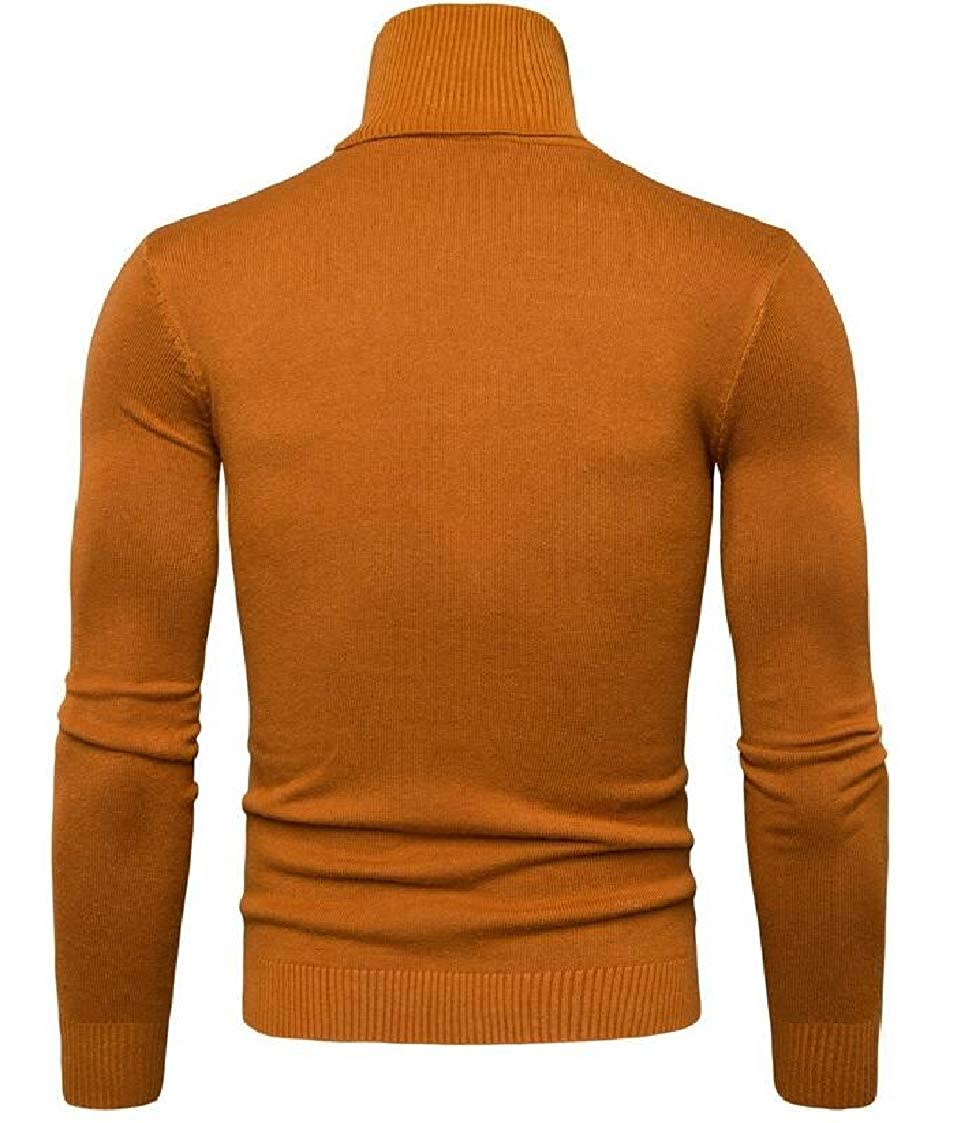Pandapang Mens Casual Knit Pure Colour High Neck Pullover Jumper Sweaters