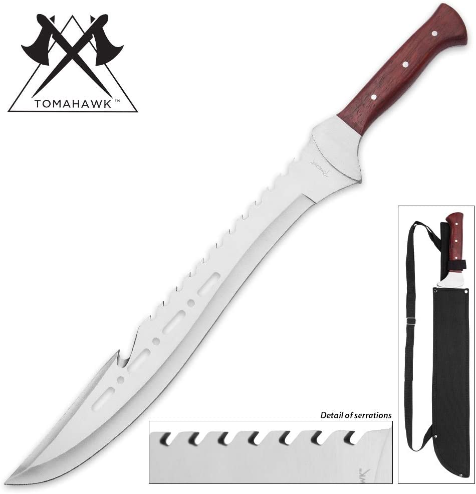 Tomahawk Razorback Full Tang Machete with Nylon Shoulder Sheath – Genuine Heartwood Handle, Sawback Serrations – 21 1 4 Length