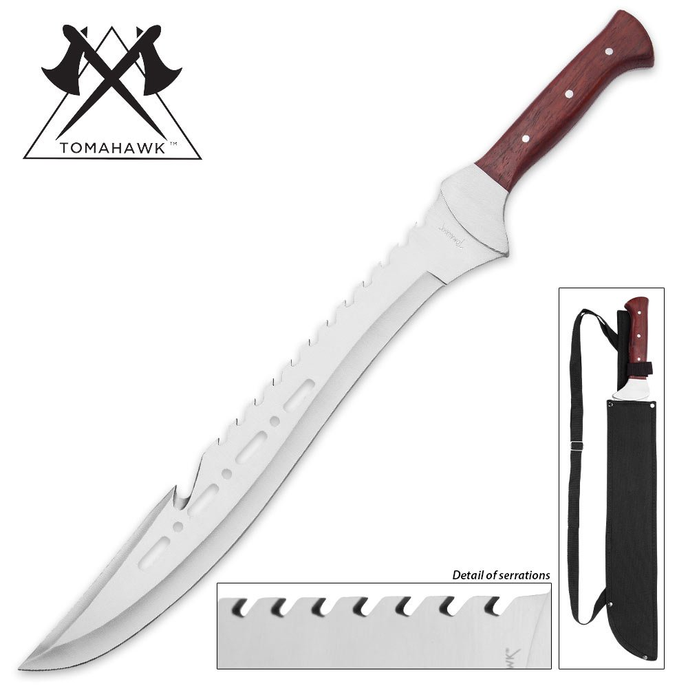 Tomahawk Razorback Full Tang Machete With Nylon Shoulder Sheath - Genuine Heartwood Handle, Sawback Serrations - 21 1/4'' Length