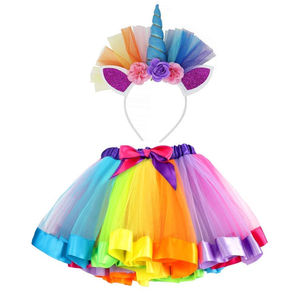 VAMEI Rainbow Ribbon Tutu Skirt for Toddler Girls Ballet Costume Photos with Unicorn Flower Headband for Little Pony Dress Up Fun DJSFGQZTZ