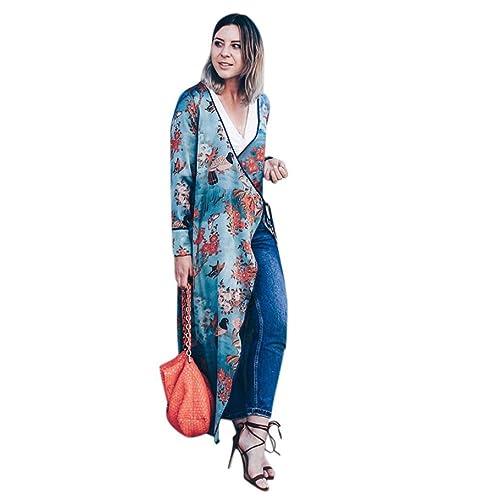 Koly Mujeres de Boho largo kimono Cardigan FEITONG Bohemia para mujer Tassel floral Chalecos largos del mantón del kimono largo Ropa de abrigo Manga larga